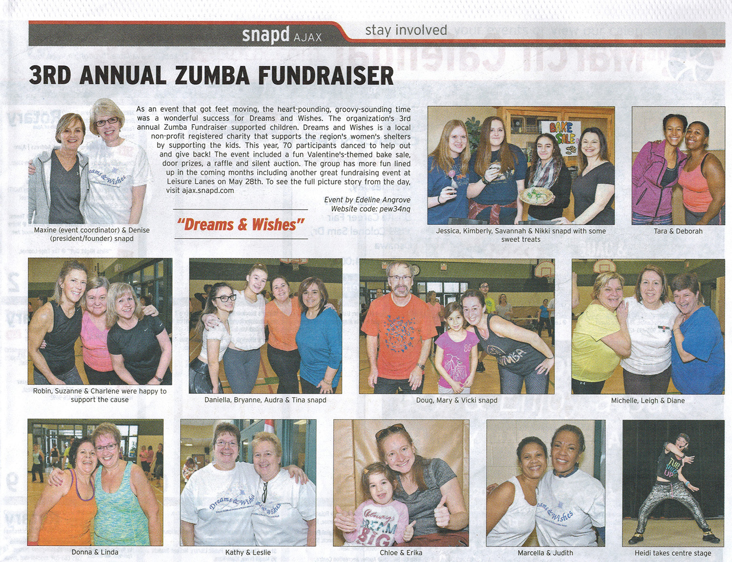 Snapd article covering our Zumba Fundraiser