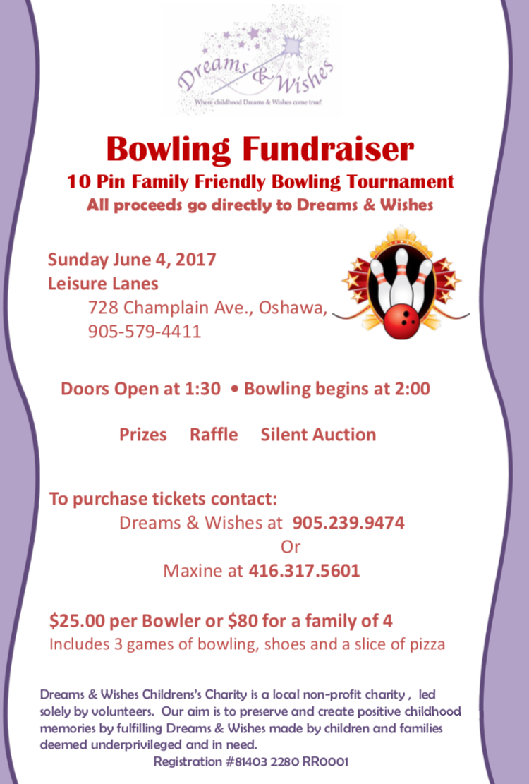 Bowling Fundraiser – Sunday June 4, 2017