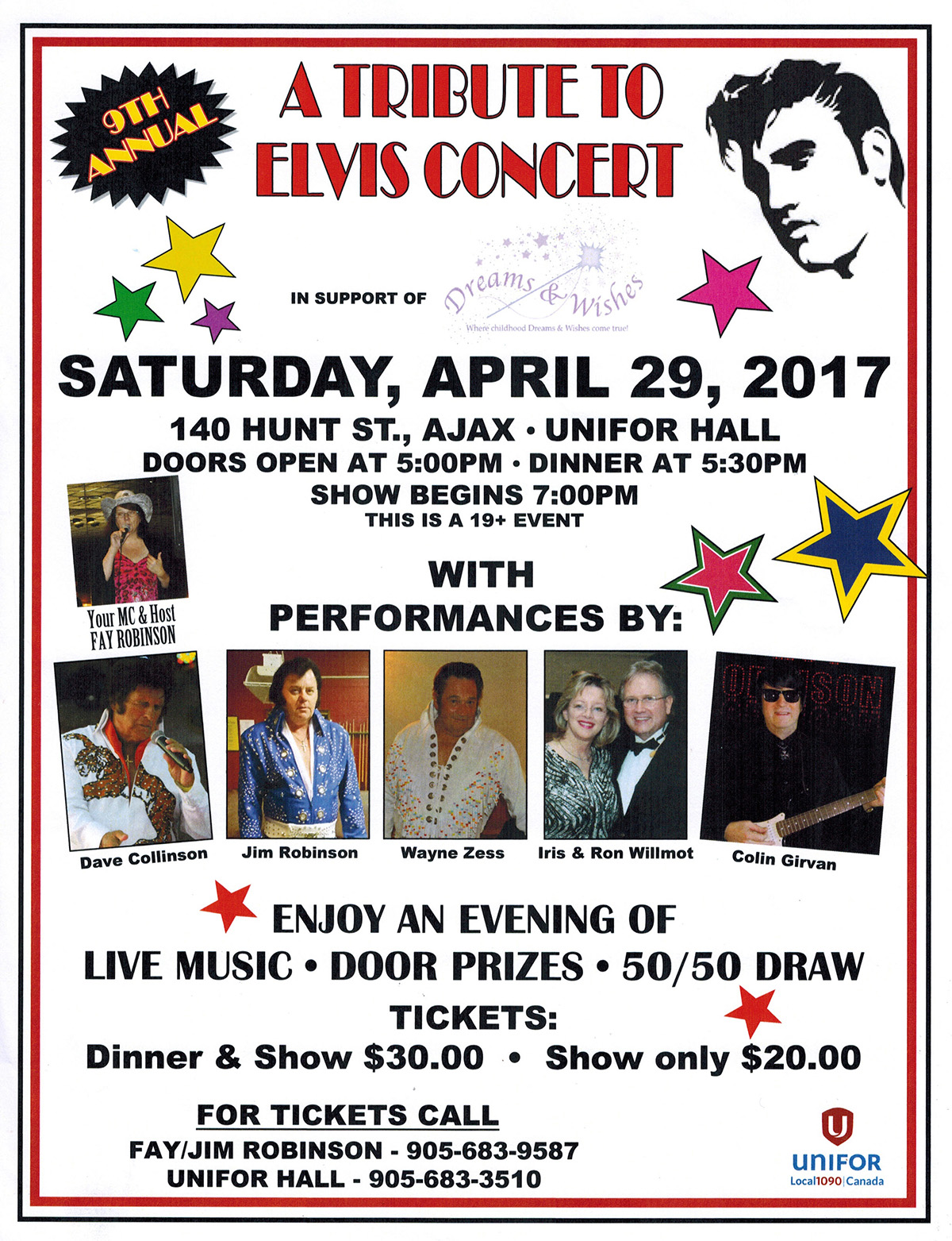 A Tribute to Elvis Fundraiser – Saturday April 29, 2017